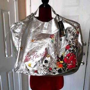 ED HARDY LARGE SILVER TOTE BAG PURSE NEW!